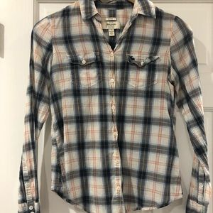 Abercrombie & Fitch Sheer Plaid Button-Up